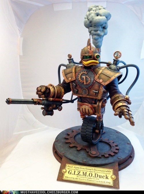 Steampunk GizmoDuck Sculpture