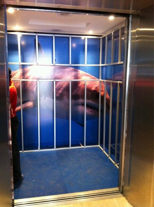 shark cage,elevator,awesome