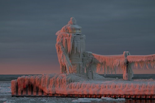 Frozen Solid on Lake Michigan