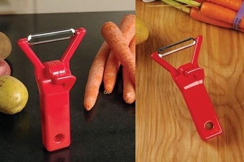 rock,vegetable peelers,hands