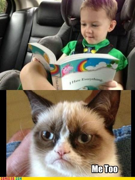 kids,hatred,books,grump cat