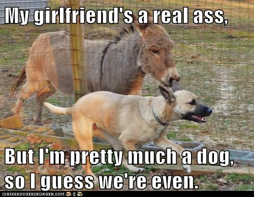 My girlfriend's a real ass,  But I'm pretty much a dog, so I guess we're even.