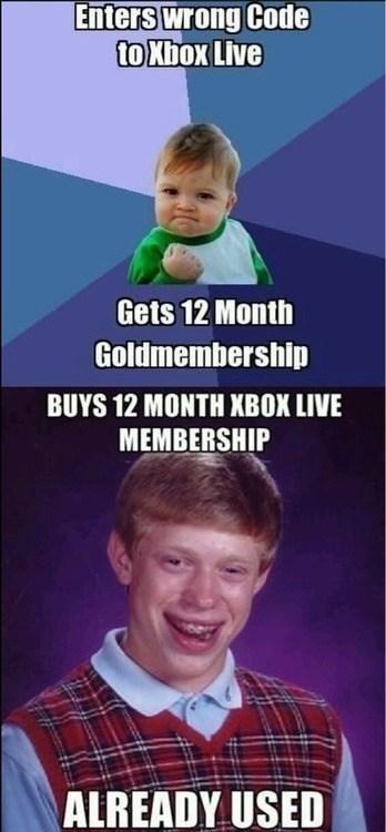 xbox live,bad luck brian,Memes,success kid