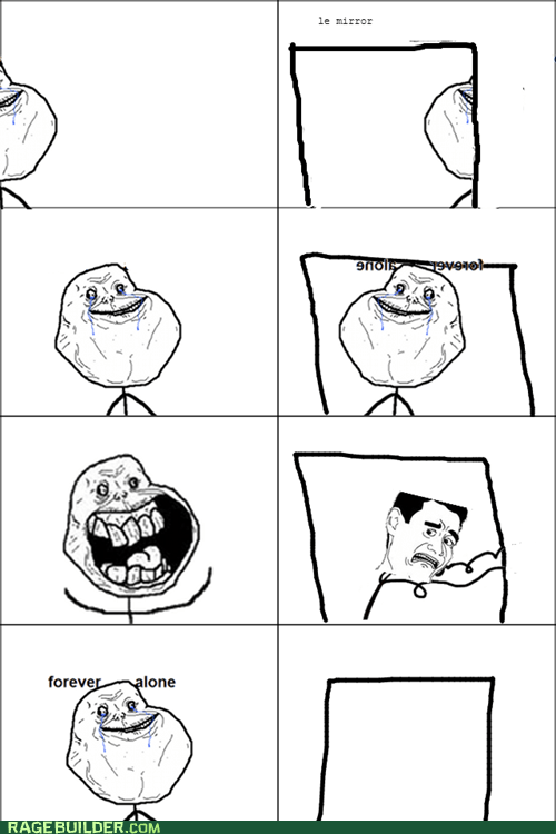 forever alone,mirror,reflection,lonely