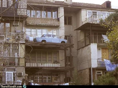 wtf,cars,balconies