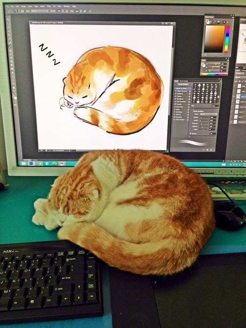 An Artist's Rendition of Waffles the Cat