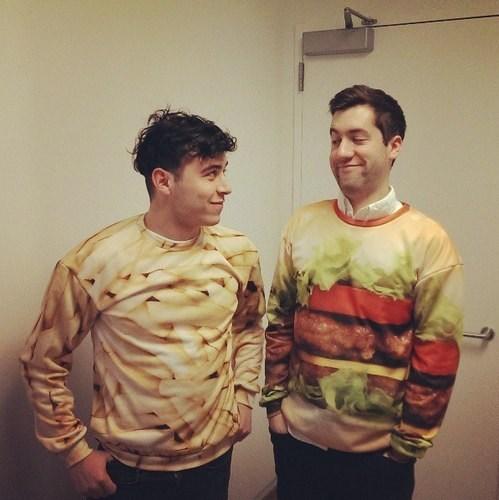 hamburgers,fries,shirts