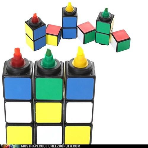 marker,highlighter,rubiks cube