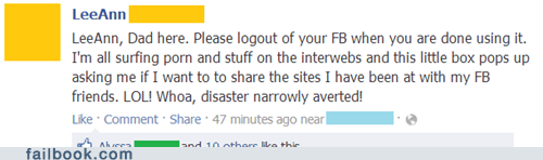 parents on facebook,crisis averted,failbook