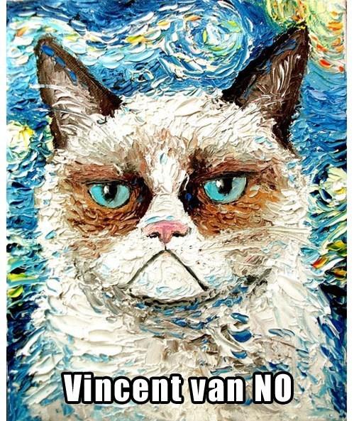 Grumpy Cat,ear,painting,Vincent van Gogh