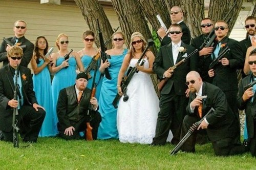 guns,bride,wedding