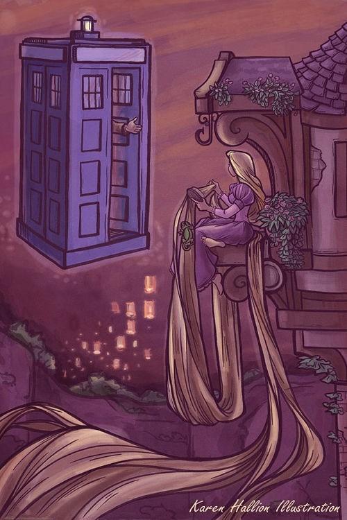 crossover,fan art,doctor who,rapunzel