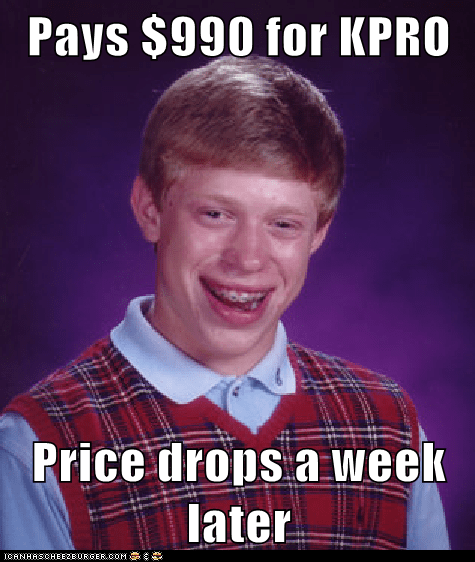 Pays $990 for KPRO  Price drops a week later