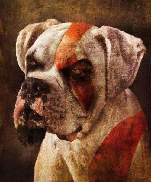 dogs,god of war,art
