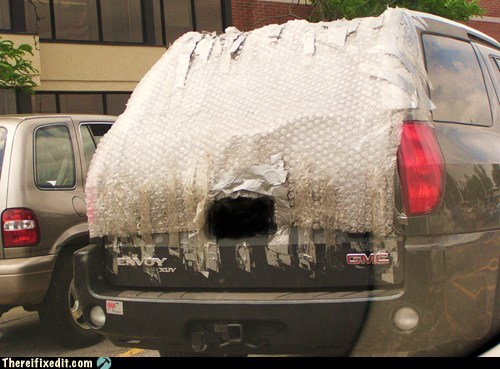 bubble wrap,car repairs,rear windows