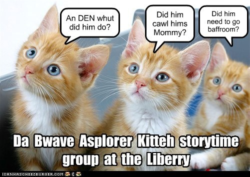 Bwave Asplorer Kitteh Storytime at Liberry