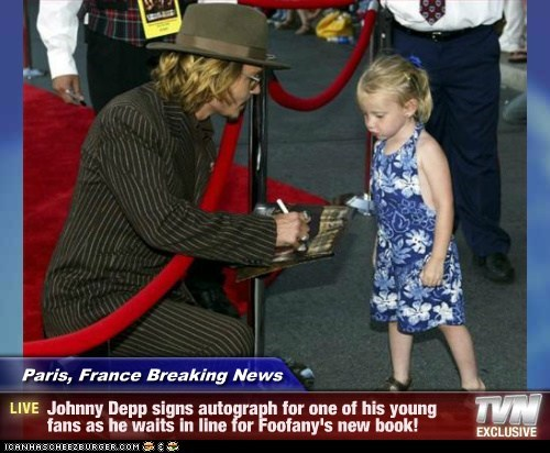 Paris, France Breaking News - Johnny Depp signs autograph for one of his young fans as he waits in line for Foofany's new book!