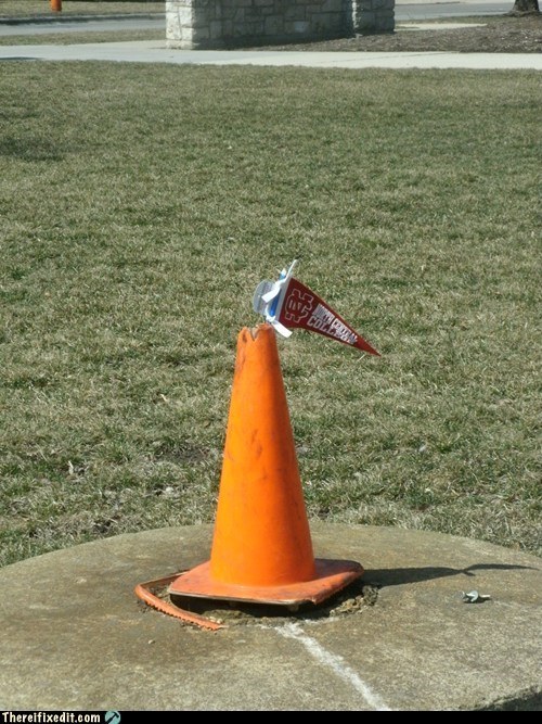 orange cones,school spirit,flags