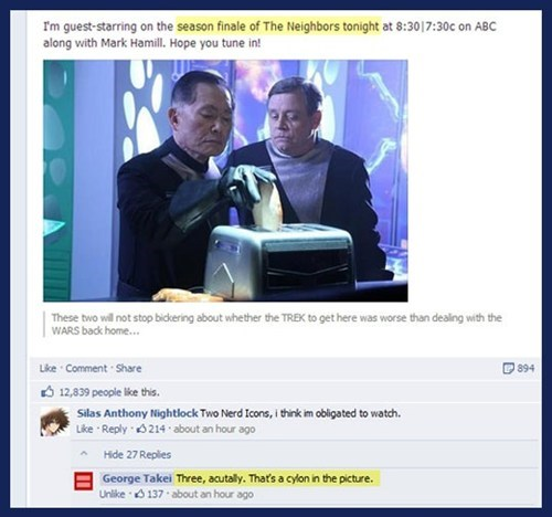 TV,facebook,sci fi,george takei