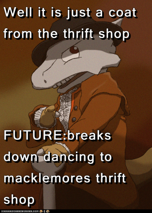 Well it is just a coat from the thrift shop   FUTURE:breaks down dancing to macklemores thrift shop