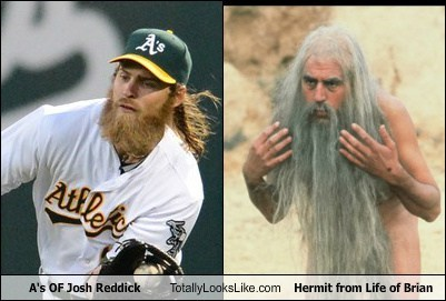 A's OF Josh Reddick Totally Looks Like Hermit from Life of Brian