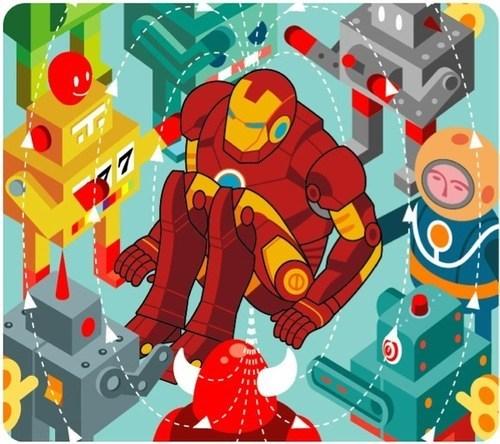art,robots,iron man