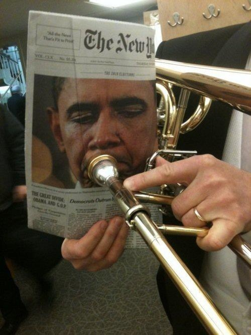 barack obama,trombones,newspapers,Music FAILS,g rated