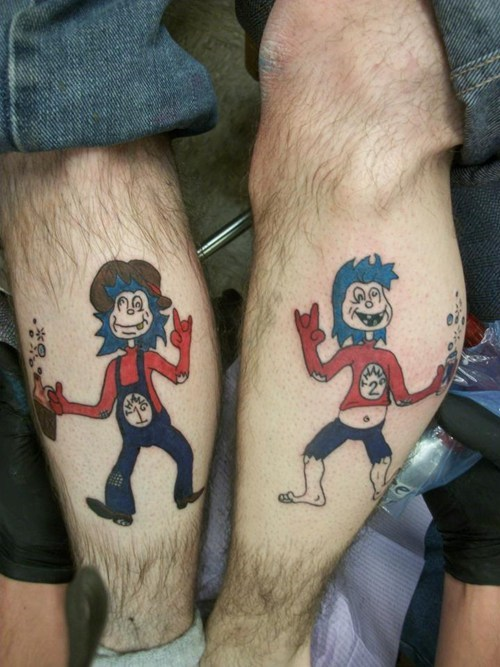 dr seuss,leg tattoos,hillbillies,thing 1 and thing 2,g rated,Ugliest Tattoos