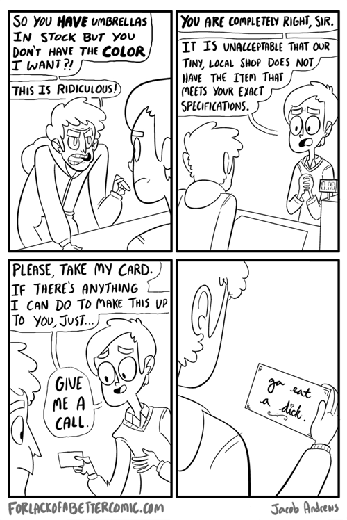 comics,complaints,business cards,monday thru friday,g rated