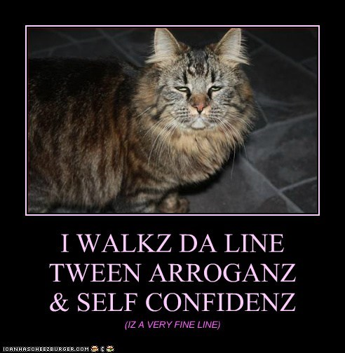 I WALKZ DA LINE  TWEEN ARROGANZ  & SELF CONFIDENZ