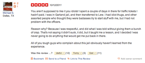 Funny Consumer Review of the Day: Yelp Reviews of Prisons