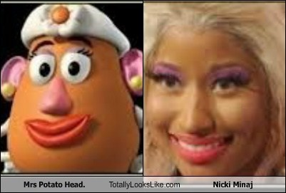 mrs potato head,totally looks like,nicki minaj