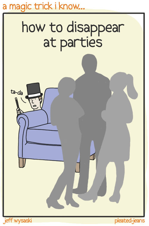 comics,disappearing,tricks,parties,pleated jeans,magic