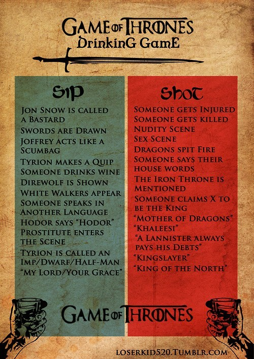 The Game of Thrones Drinking Game