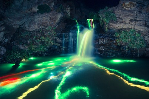 glowsticks,photography,landscape,waterfall,pretty colors,g rated,destination WIN!