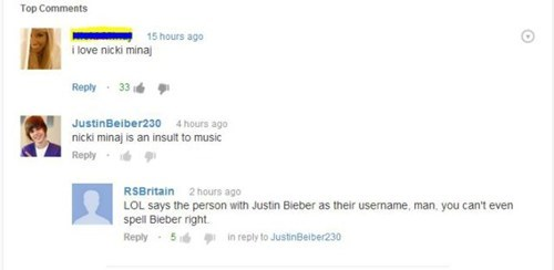 youtube comments,nicki minaj,justin bieber