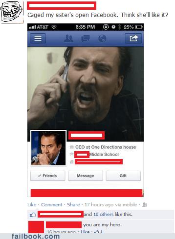 caged,nicolas cage,profile hack,facebook hack