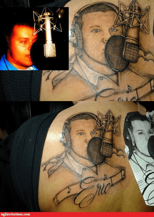 studio,microphones,back tattoos,portrait tattoos