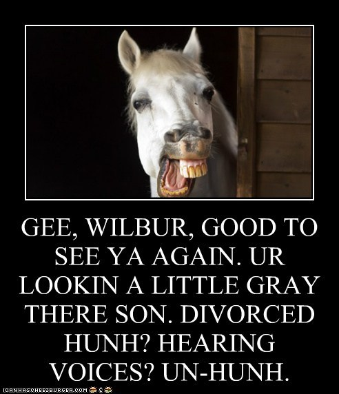 GEE, WILBUR, GOOD TO SEE YA AGAIN. UR LOOKIN A LITTLE GRAY THERE SON. DIVORCED HUNH? HEARING VOICES? UN-HUNH.