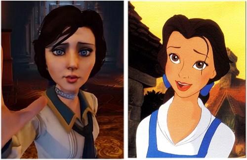Beauty and the Beast,disney,totally looks like,belle,Elizabeth,bioshock