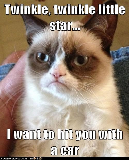 Twinkle, twinkle little star...  I want to hit you with a car