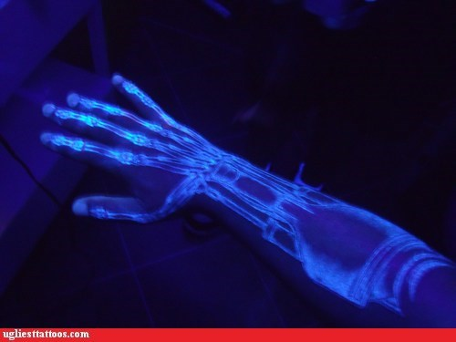 arm tattoos,The Terminator,black lights