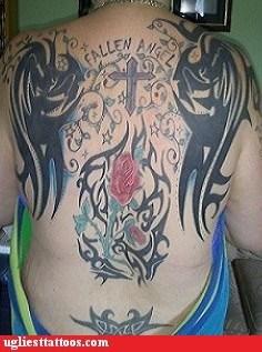 wings,back tattoos,crosses
