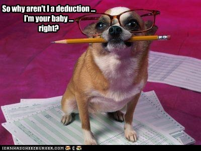 So why aren't I a deduction ... I'm your baby ...  right?