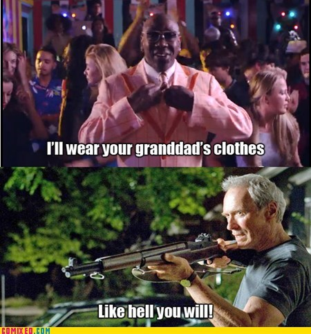 guns,thrift shop,mackelmore,Clint Eastwood