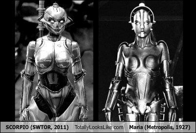 SCORPIO (SWTOR, 2011) Totally Looks Like Maria (Metropolis, 1927)