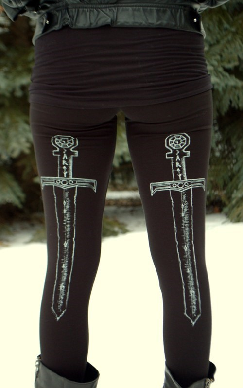 You're Always Wearing Protection With These Sword Leggings