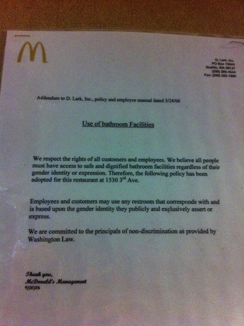 This Sign Has Been Posted in a Seattle McDonald's Restroom Since 2006!