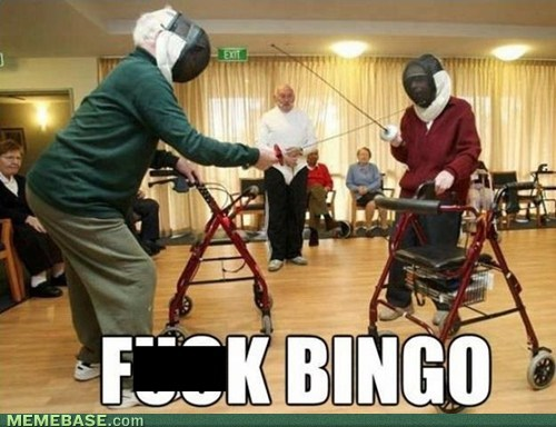 Fencing,old people,bingo