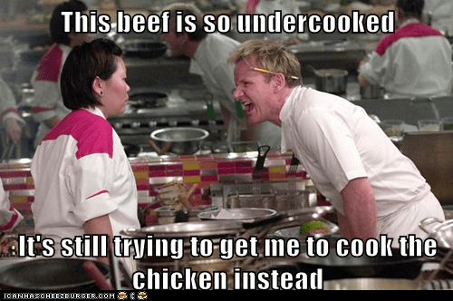 This beef is so undercooked  It's still trying to get me to cook the chicken instead
